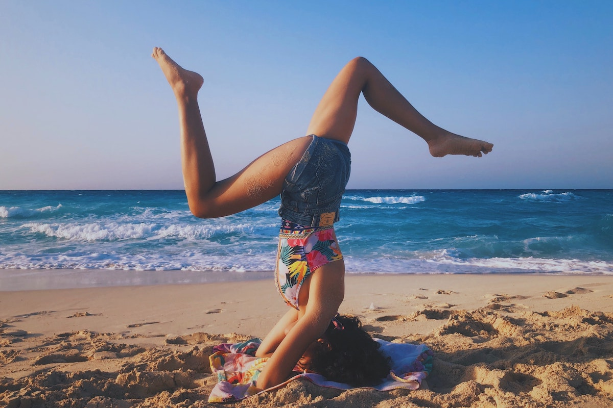 Kopfstand, Strand, Meer