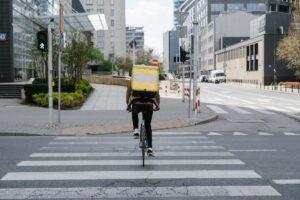 Fahrrad, Fahrer, Lieferdienst