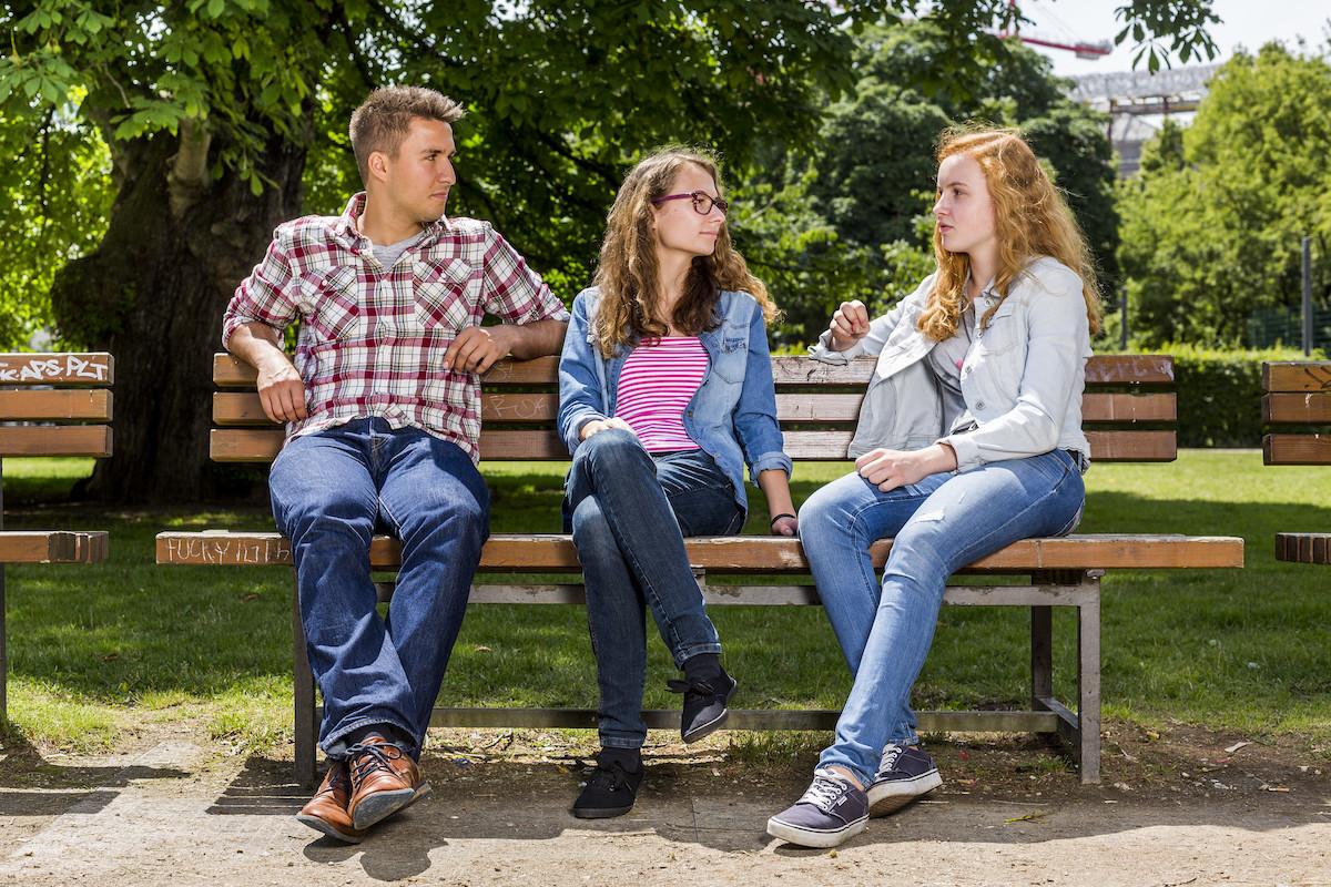 Jugendliche, Bank, Park, Rente