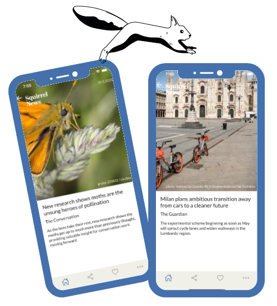 Squirrel News, App Screens, English: The free app to get good news and positive news