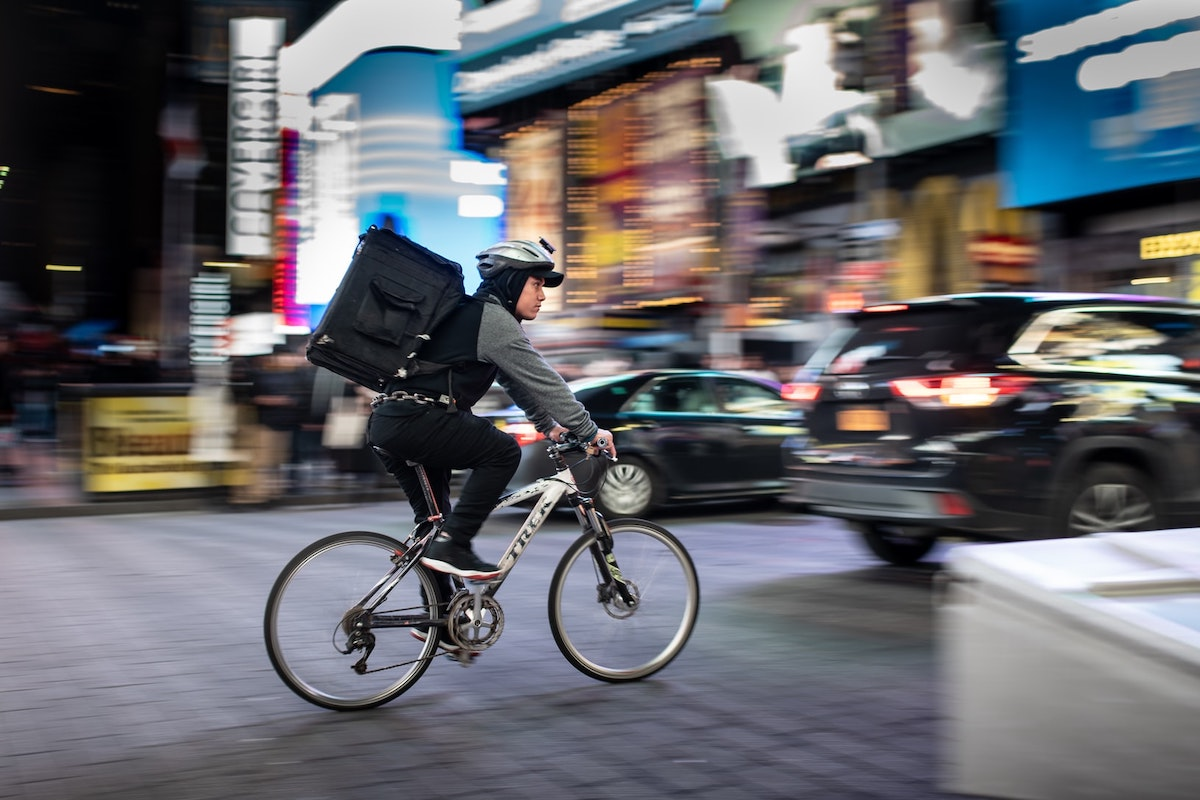 Food delivery, driver, bike